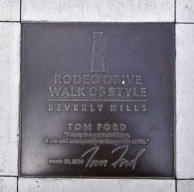 Plaque honorant le couturier Tom Ford image stock