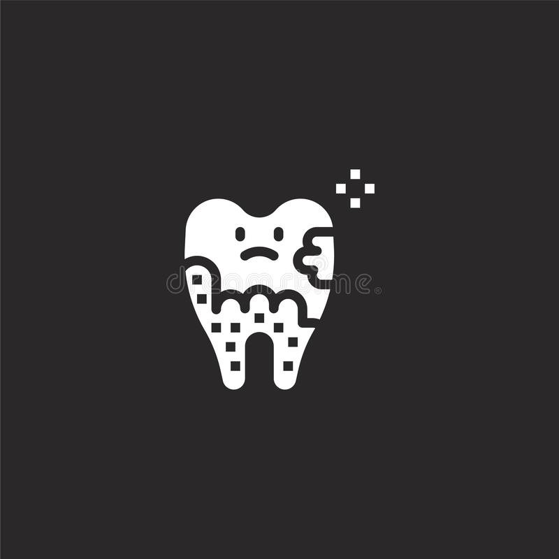 Plaque icon. Filled plaque icon for website design and mobile, app development. plaque icon from filled dental collection isolated. On black background vector illustration