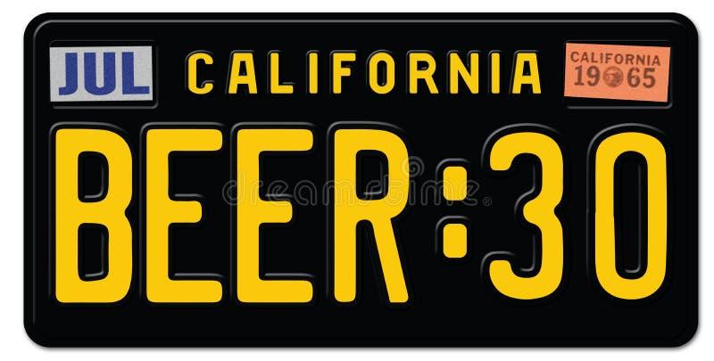 Plaque minéralogique de Thity 30 de bière la Californie illustration stock