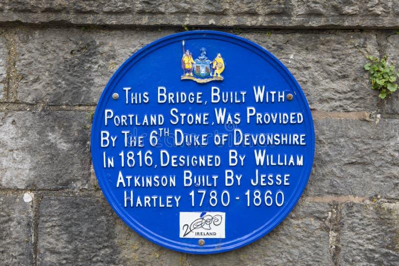 Plaque op de Devonshire-Brug in Dungarvan royalty-vrije stock afbeelding