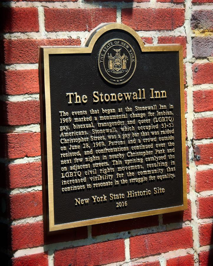 Plaque outside the Stonewall Inn bar in Manhattan stock photo