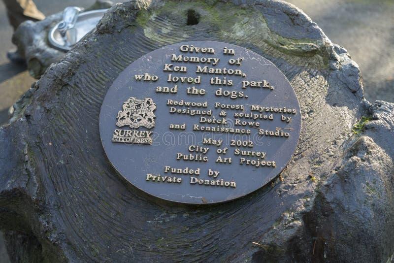 Plaque pour la sculpture publique en art de parc de séquoia photographie stock