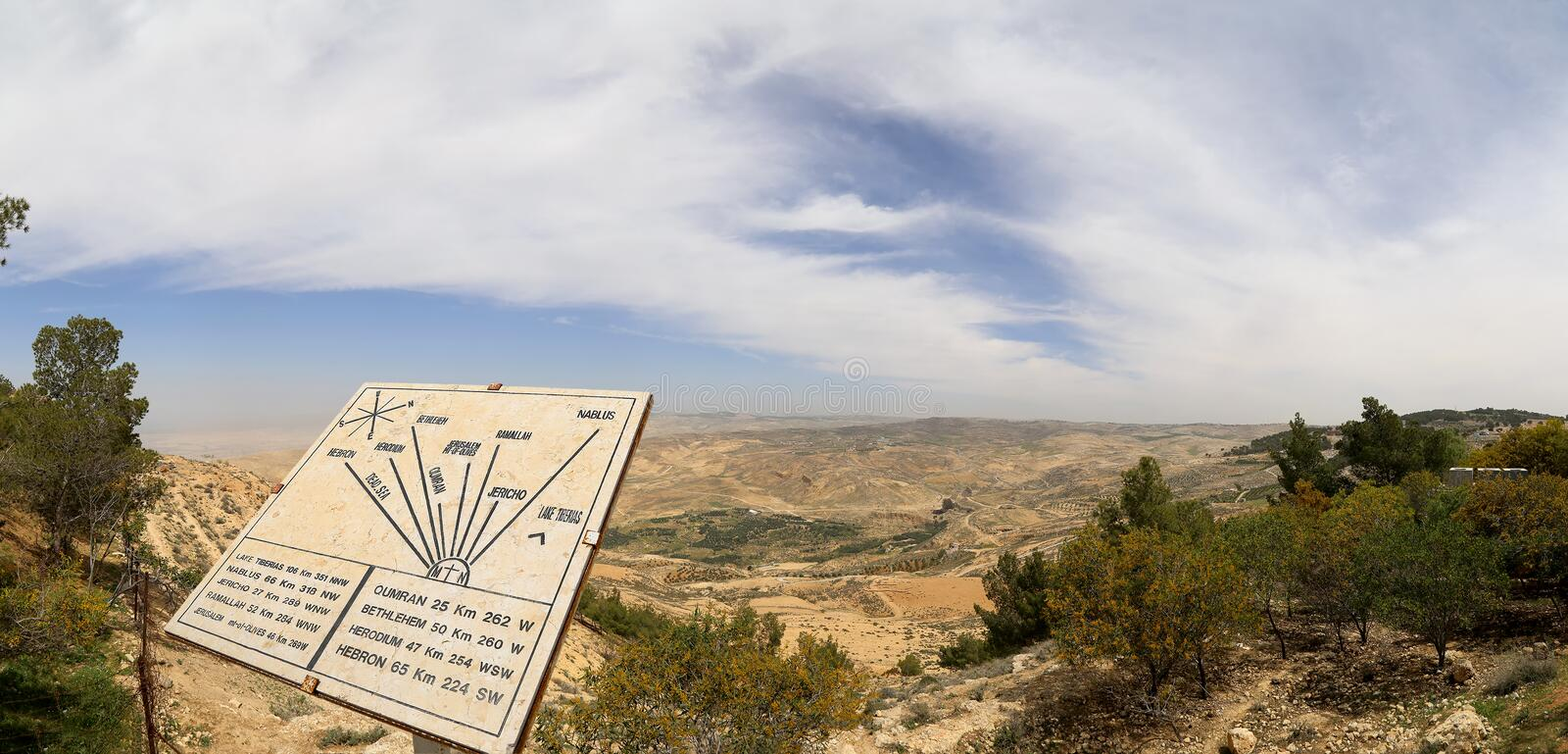 Plaque showing the distance from Mount Nebo to various locations, Jordan, Middle East royalty free stock photos