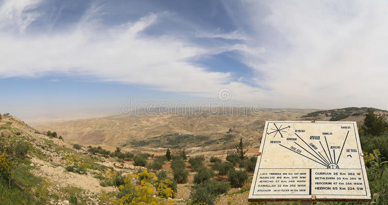 Plaque showing the distance from Mount Nebo to various locations, Jordan, Middle East stock image