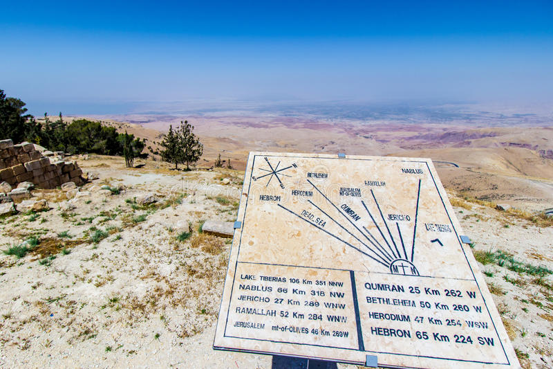 Plaque showing the distance to various locations from Mount Nebo, Jordan. royalty free stock image