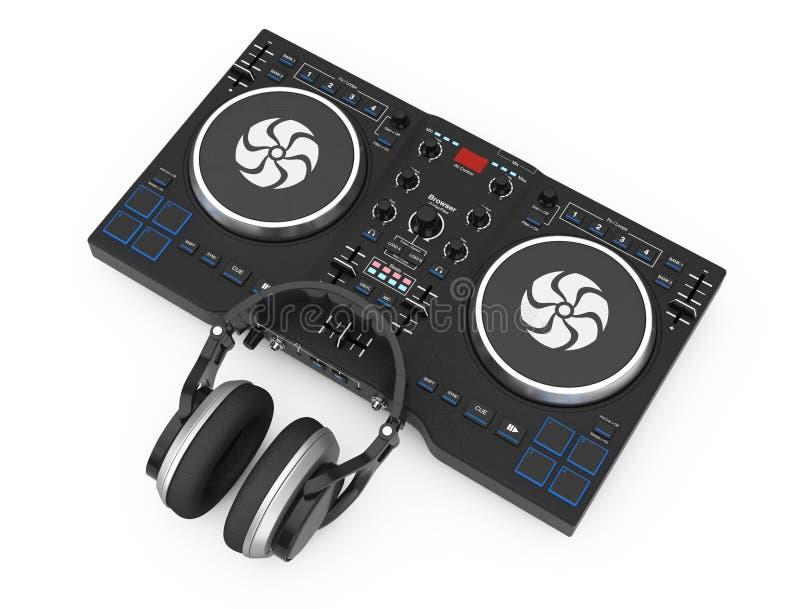 Plaque tournante de mélange du DJ avec des écouteurs rendu 3d illustration stock