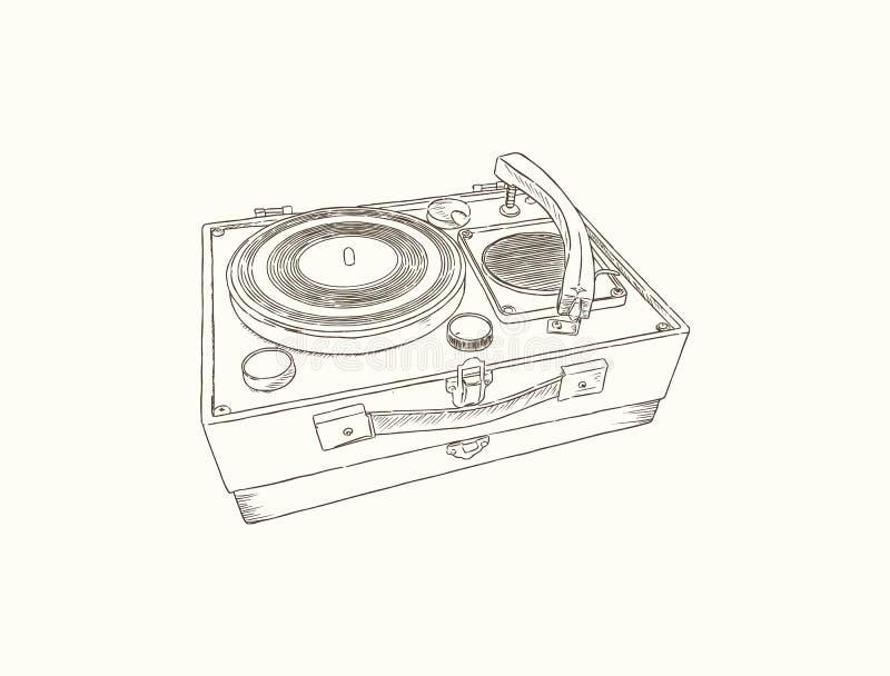 Plaque tournante de vintage Disque vinyle de tourne-disque Vecteur de croquis illustration de vecteur