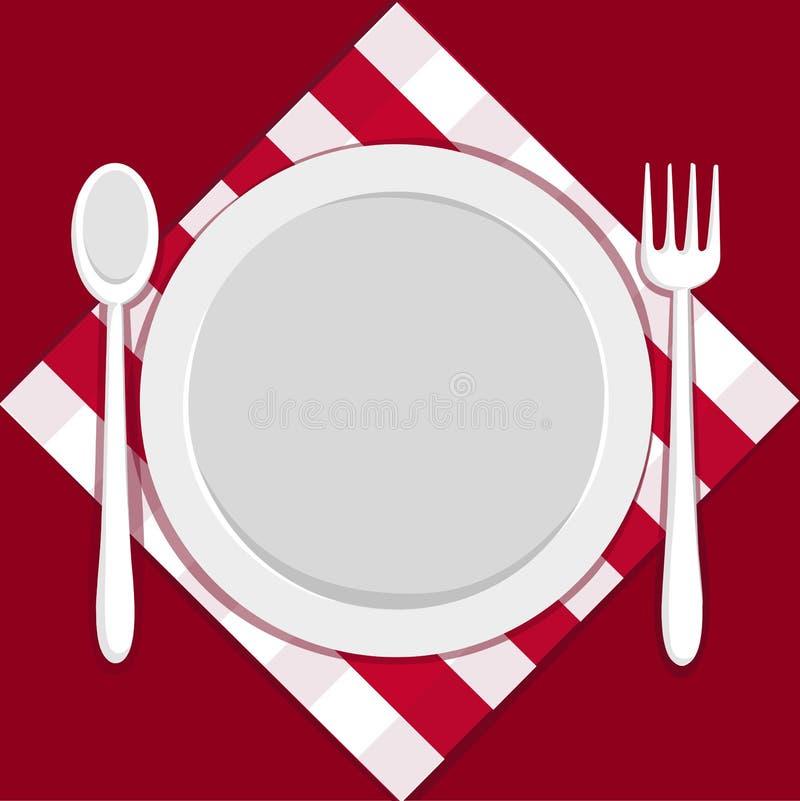 Plaque vide avec la fourchette et la cuillère illustration stock