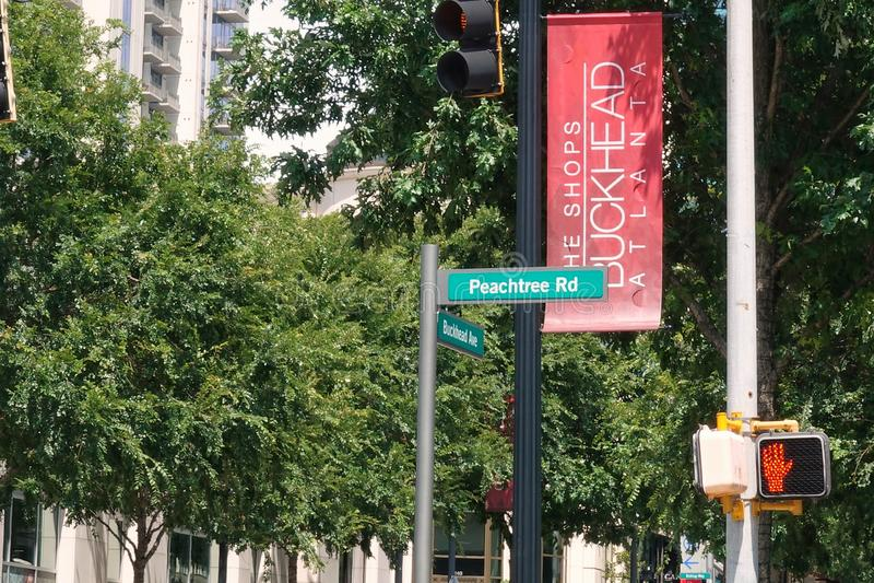 Plaques de rue Buckhead et Peachtree photographie stock libre de droits