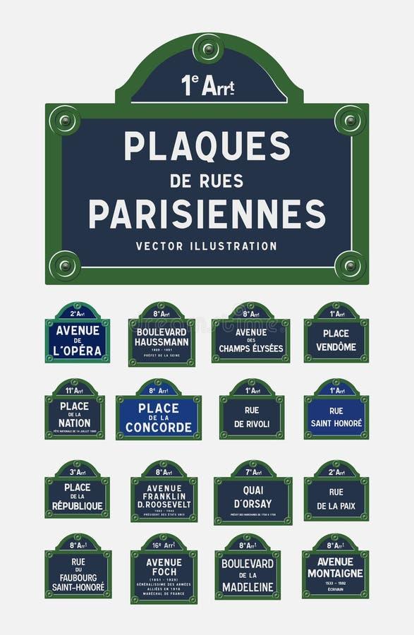 Plaques de rue de Paris illustration de vecteur