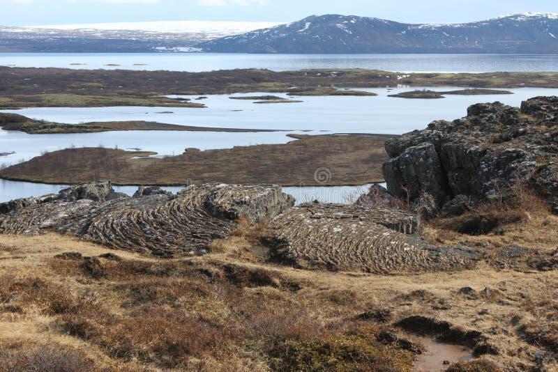 Plaques tectoniques dans la réservation naturelle en Islande photos stock