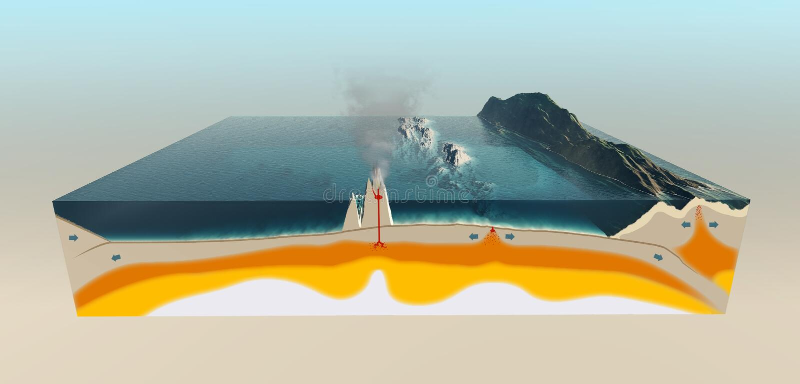 Plaques tectoniques de la croûte terrestre illustration stock