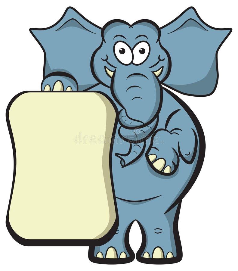 Plaquette de blanc d'illustration d'éléphant. illustration libre de droits