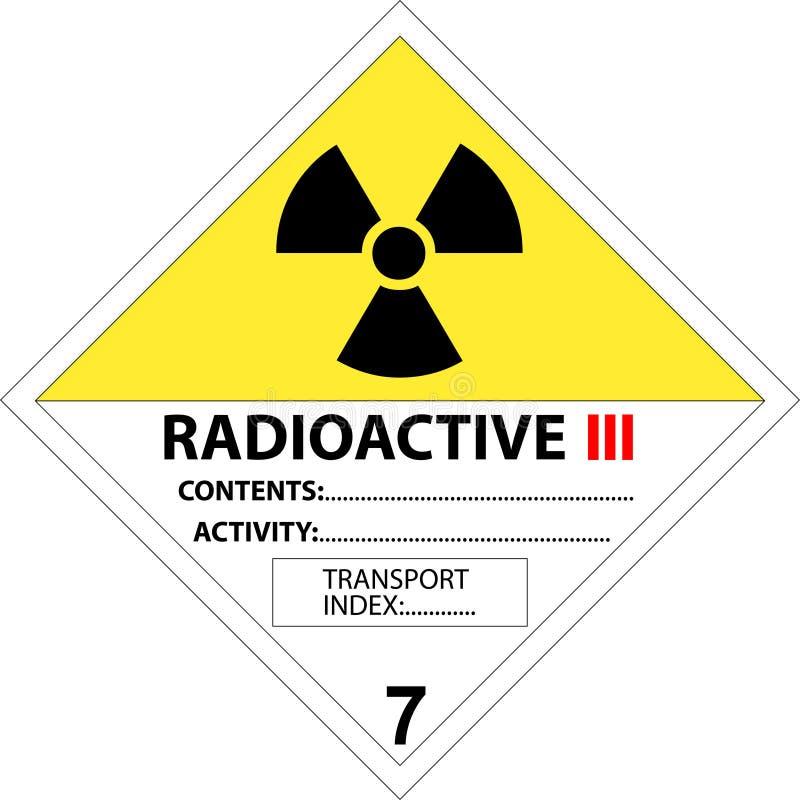 Plaquette de sécurité - signal d'avertissement radioactif illustration stock