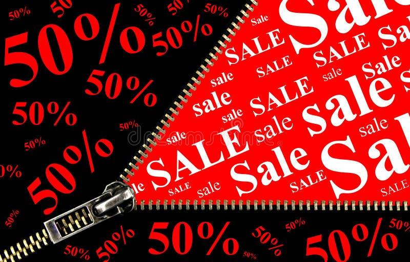 Plaquette de vente de 50% avec le concept d'ouverture de tirette illustration libre de droits