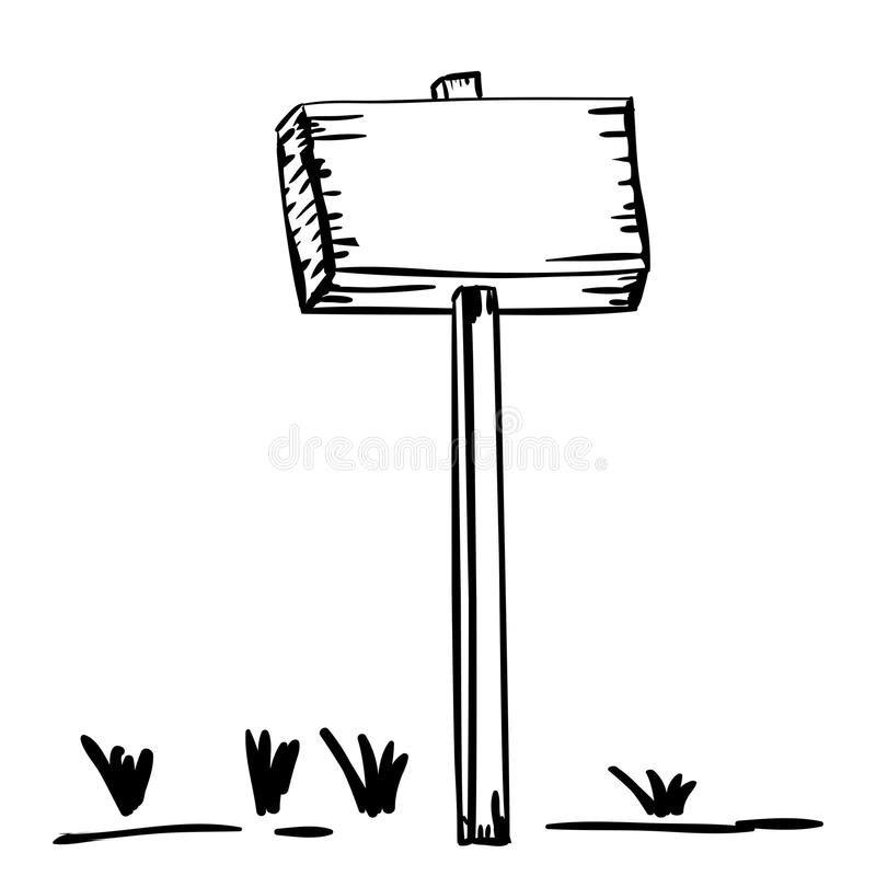 Plaquette en bois de silhouette avec l'enjeu et l'herbe illustration stock