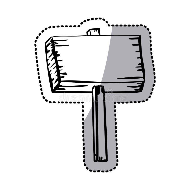 Plaquette en bois de silhouette d'autocollant avec l'enjeu illustration de vecteur