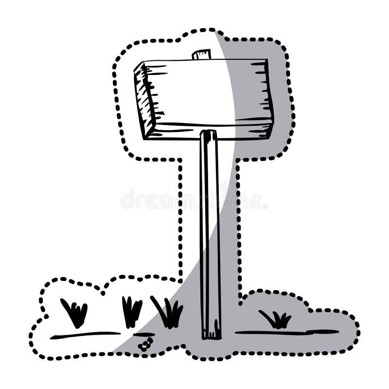 Plaquette en bois de silhouette d'autocollant avec l'enjeu et l'herbe illustration libre de droits