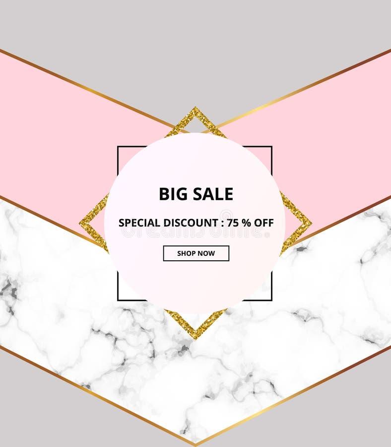 Plaquette géométrique de couverture, géométrie minimaliste avec la texture blanche de marbre ou de pierre, rose, gris et séparate illustration de vecteur