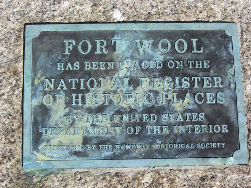 Plaquette historique de laine de fort photographie stock