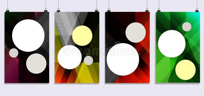 Plaquettes réglées avec des formes abstraites Style géométrique plat et éléments de conception illustration libre de droits