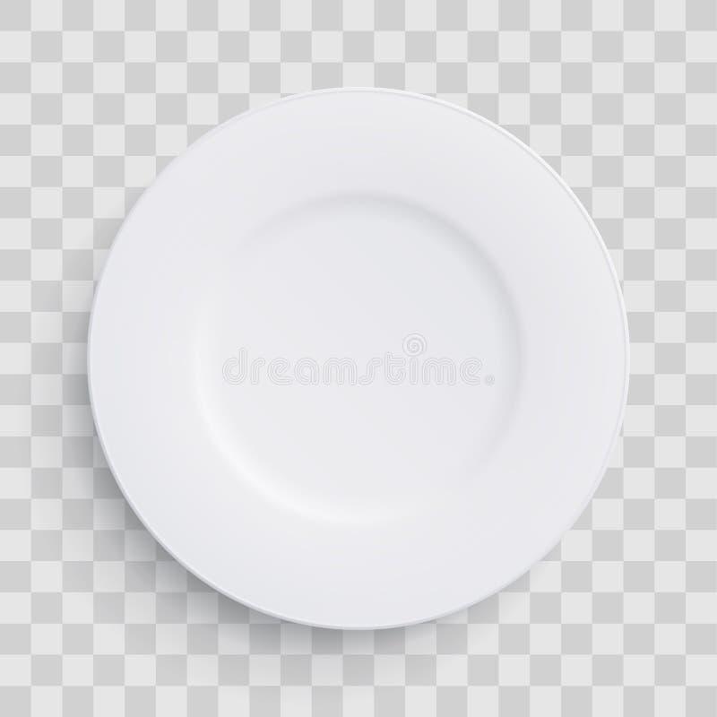Plaquez le rond blanc du plat 3D sur le fond transparent Dirigez le plat vide plat de porcelaine réaliste ou le plastique jetable illustration de vecteur