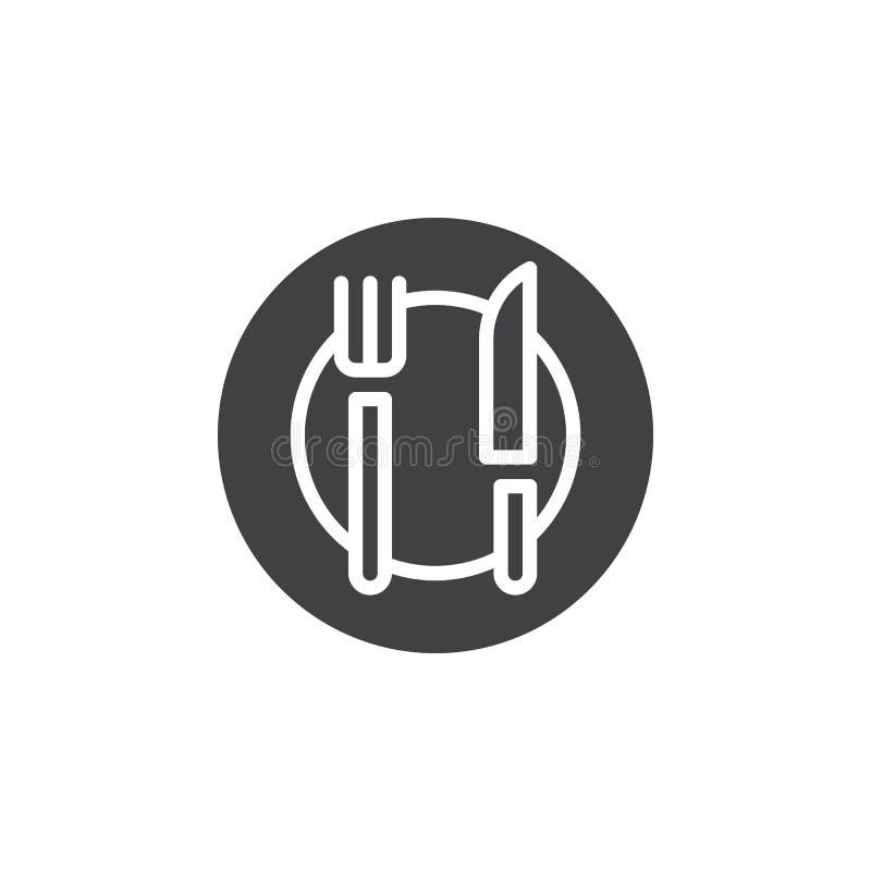 Plaquez le vecteur d'icône de fourchette et de couteau, signe plat rempli, pictogramme solide d'isolement sur le blanc illustration stock