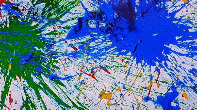 plaska av målarfärg som är blått och som är grönt royaltyfri bild