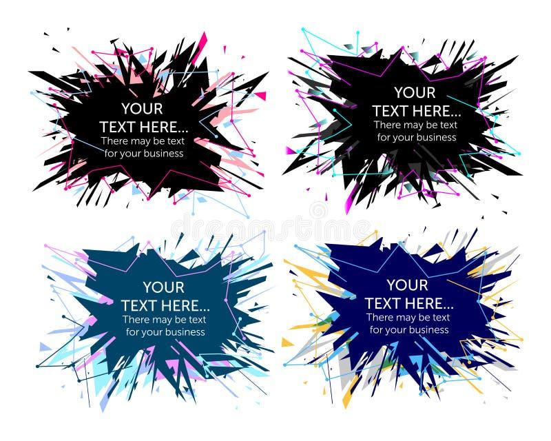 Plaska explosionbakgrund i fyra färger vektor illustrationer