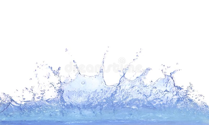 Plaska fri vatten på vitt bakgrundsbruk för uppfriskning arkivbild