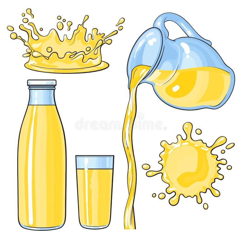 Plaska och hällande gul citronjuice i flaskan, exponeringsglas, tillbringare vektor illustrationer