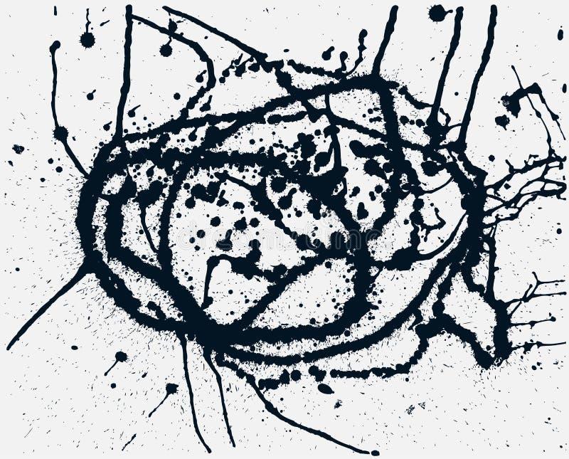 Plaska svart färgpulverbakgrund Hand drog sprejfläckar royaltyfri illustrationer