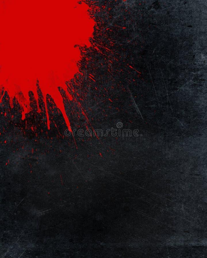 Plaskad blod- och grungebakgrund stock illustrationer