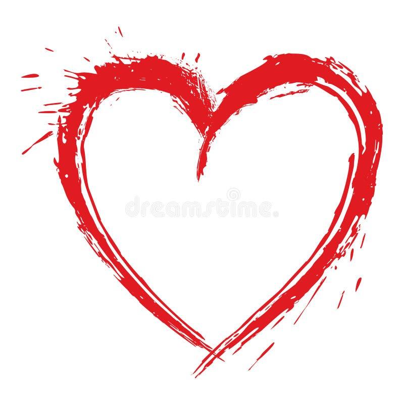 Plaskad ut konstnärlig hjärtaformteckning royaltyfri illustrationer