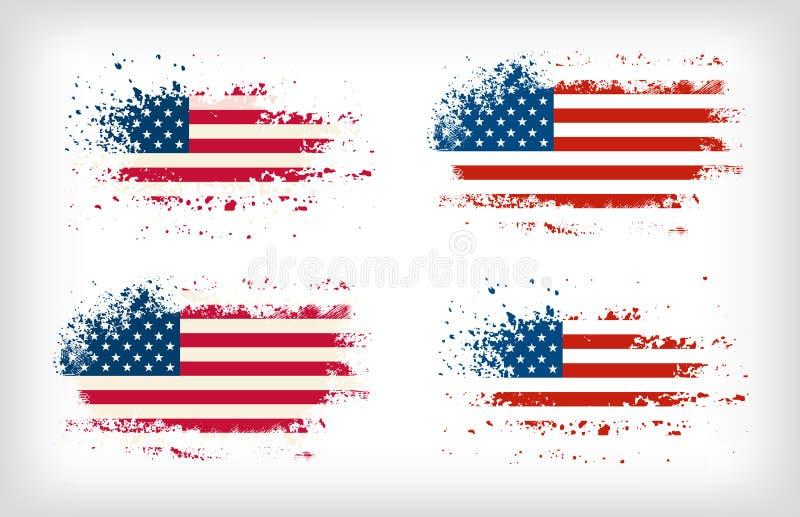 Plaskade flaggavektorer för Grunge amerikanskt färgpulver stock illustrationer