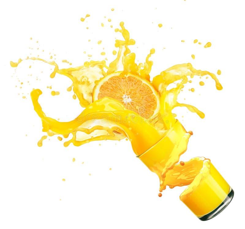 Plaskande orange fruktsaft med apelsiner royaltyfri bild