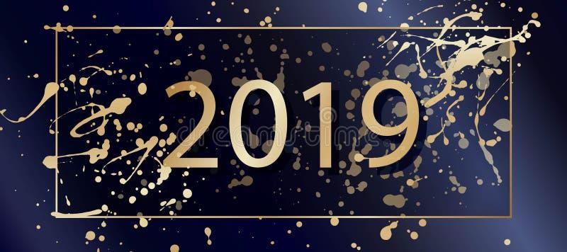 Plaskar bakgrund för det lyckliga nya året för vektorn 2019 med guld-, ramen letters amerikansk för färgexplosionen för kortet 3d vektor illustrationer