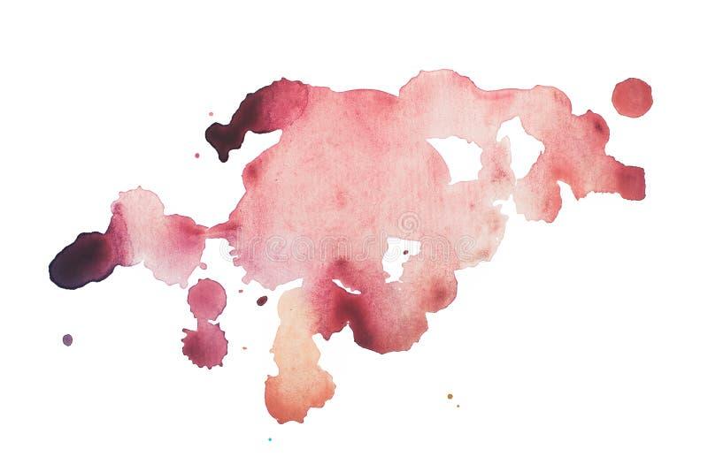 Plaskar den abstrakta målarfärg för fläcken för vattenfärgaquarellen handen dragen färgrik röd fläck royaltyfri bild