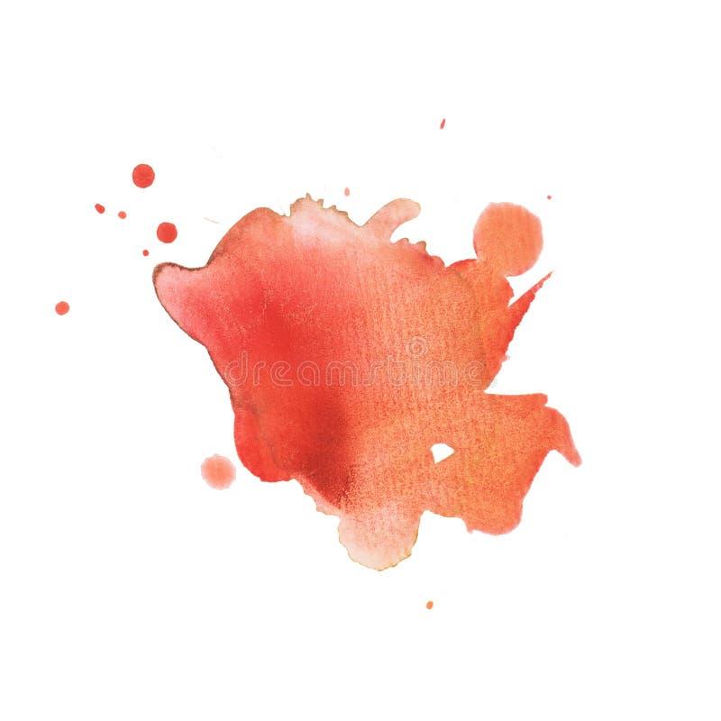 Plaskar den abstrakta målarfärg för fläcken för vattenfärgaquarellen handen dragen färgrik röd fläck royaltyfria foton