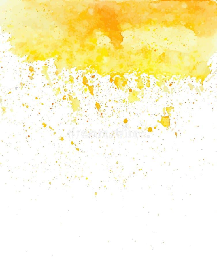 Plaskar den gula vattenfärgen för vektorn stock illustrationer