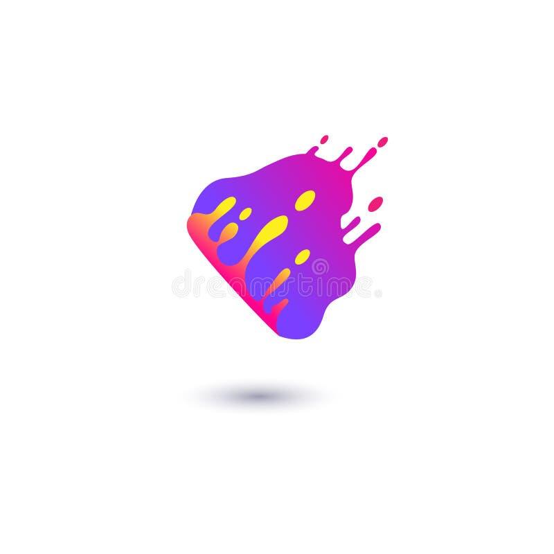 Plaskar den purpurfärgade fläcken för vätska i plan stil för rörelse vektor illustrationer