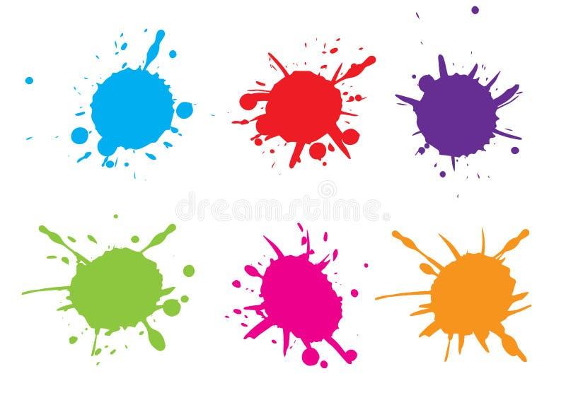 Plaskar färgrik målarfärg för vektorn måla set färgstänk Vektorillustrat vektor illustrationer