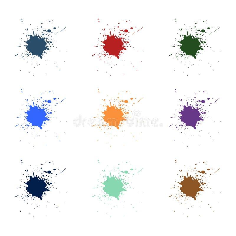 Plaskar färgrik målarfärg för vektorn Målarfärgfärgstänkuppsättning också vektor för coreldrawillustration royaltyfri illustrationer