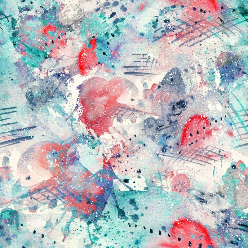 Plaskar fodrar den sömlösa modellen för den abstrakta vattenfärgen med fläckar, droppar, färgstänk och hjärtor royaltyfri illustrationer