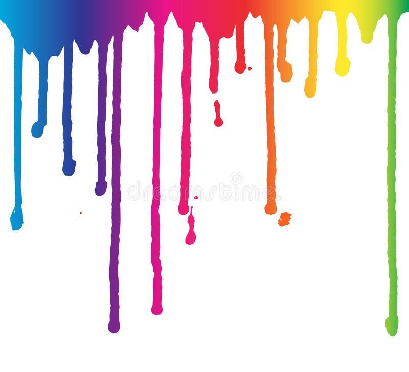 Plaskar genomblöt bakgrund för regnbågemålarfärg, vätska, vätskedroppar, färgpulverliten droppeillustration royaltyfri illustrationer