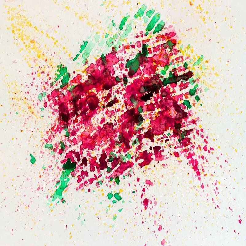 Plaskar livlig färgrik bakgrundsmålning för den abstrakta vattenfärgen med sprej, fläckar, Hand som dras på pappers- korntextur royaltyfri illustrationer