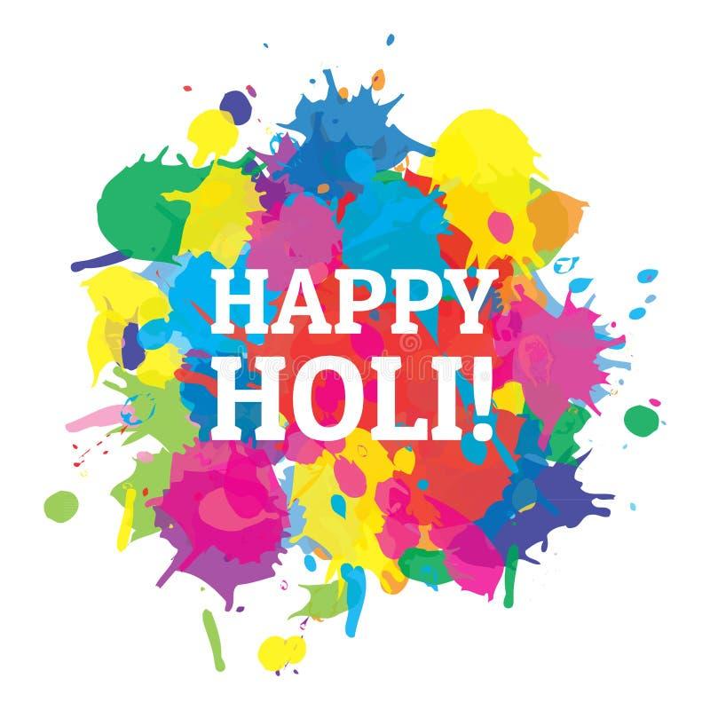 Plaskar lyckliga Holi för den indiska festivalen färger vektorn royaltyfri illustrationer