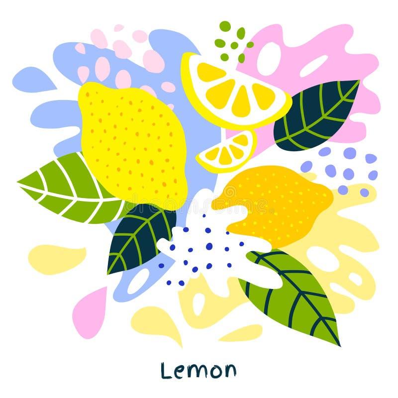 Plaskar tropisk exotisk citrusfruktfruktsaft för den nya citronen att plaska saftig organisk mat citroner på abstrakt bakgrund vektor illustrationer