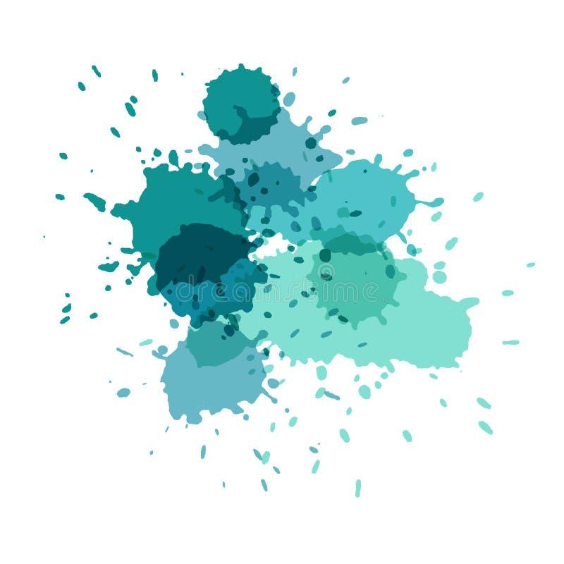 plaskar vattenfärg Målarfärgvektorsplat stock illustrationer