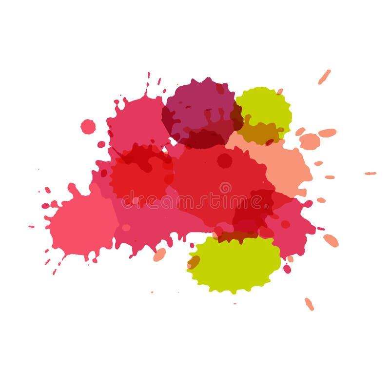 plaskar vattenfärg Målarfärgvektorsplat royaltyfri illustrationer